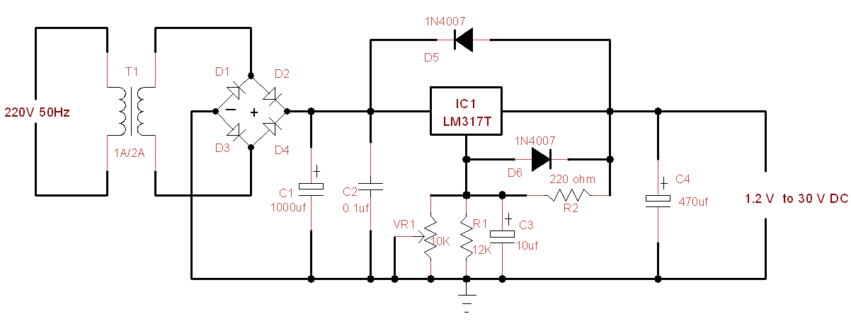 1A-Variable-Power-Supply-(1.2-30V DC) for electronics projects