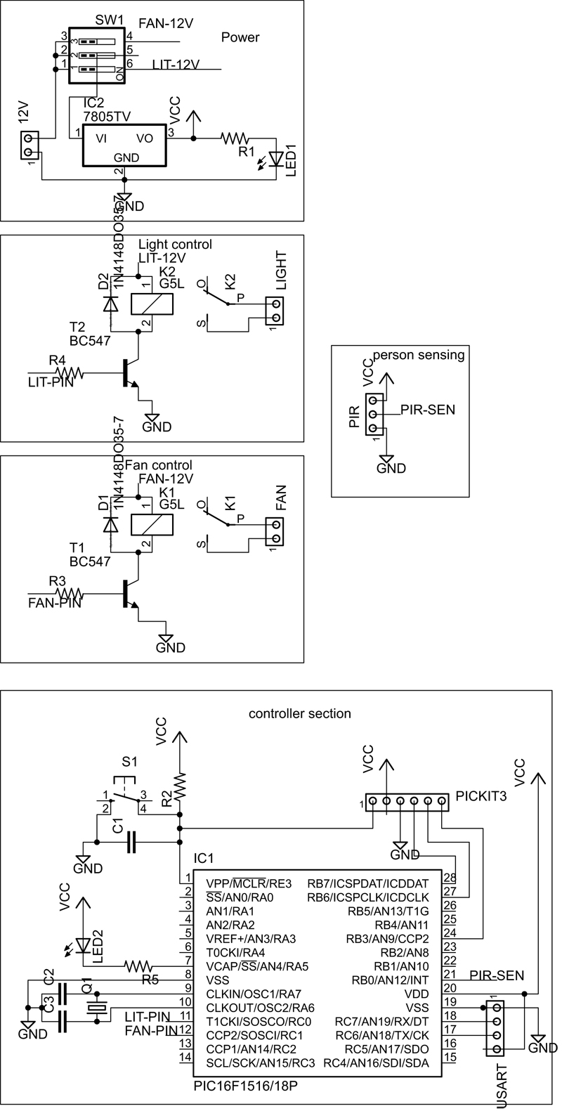 Circuit Diagram of Home automation project using embedded system, pic microcontroller