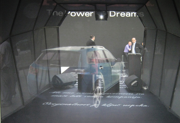 Holographic image projection of car