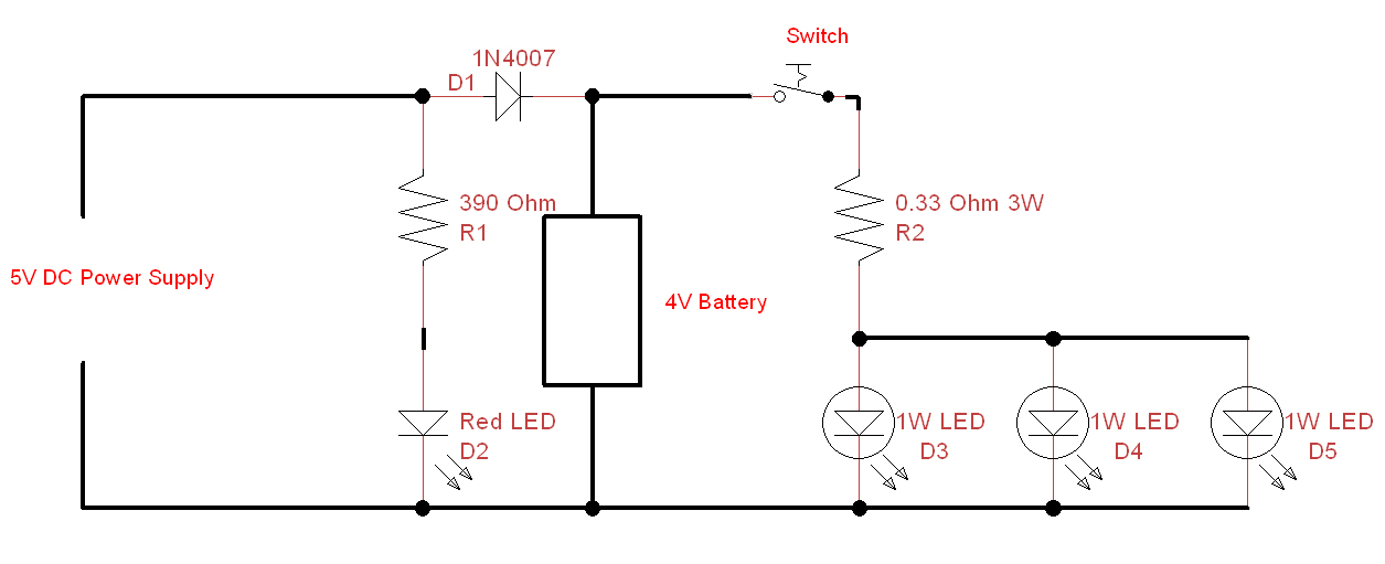 simple LED-Emergency-light circuit-diagram
