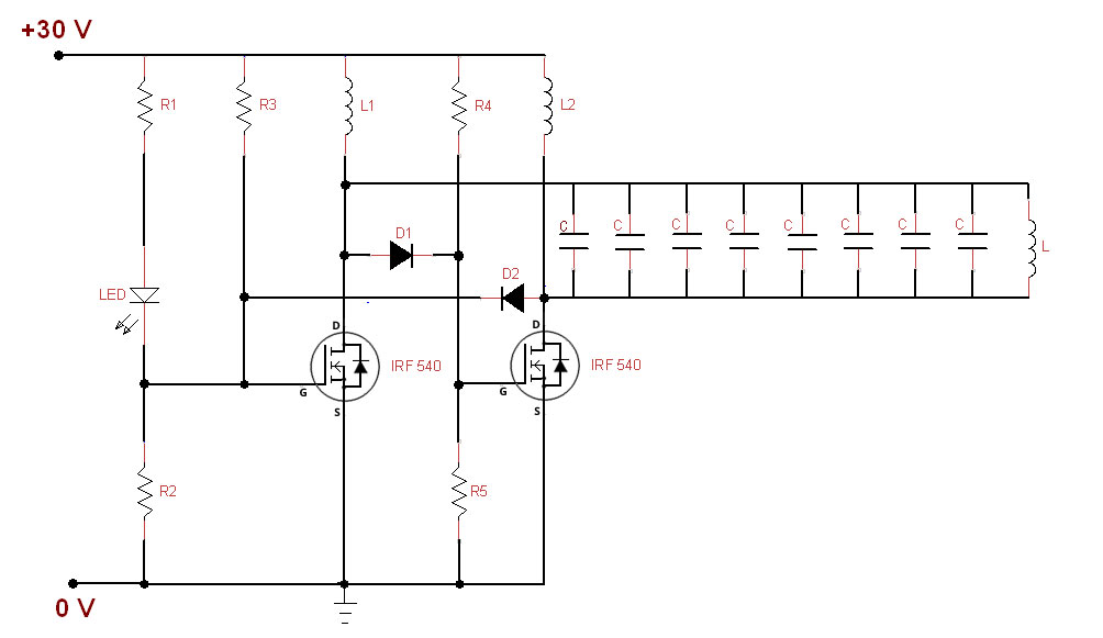 Transmitter section circuit of wireless charger