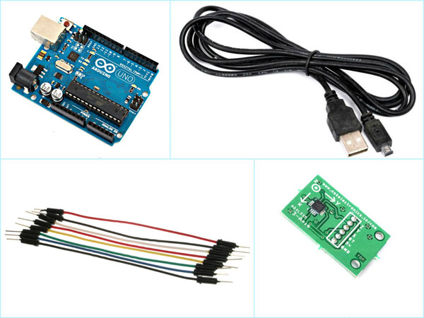 Components for interfacing ADXL335 with arduino
