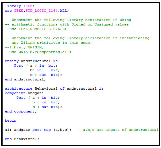 VHDL Structural Model of AND Gate