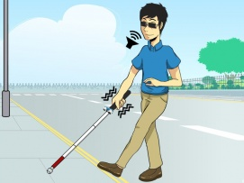 VIBRATION AND VOICE OPERATED NAVIGATIONAL SYSTEM FOR BLIND PERSON